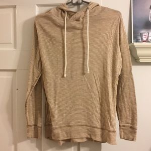 J Crew tan and white striped pullover long sleeve